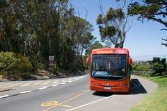 Salto-en, autobús rojo de visita turístico de excursión de la ciudad del salto-apagado Fotos de archivo libres de regalías
