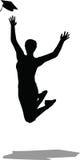 Salto en el aire para el casquillo de la graduación - birrete negro stock de ilustración