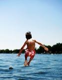 Salto en el lago fotografía de archivo