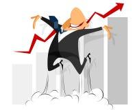Salto engraçado do homem de negócios Fotos de Stock Royalty Free