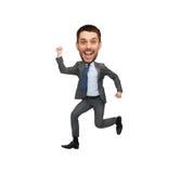 Salto engraçado do homem de negócios do estilo dos desenhos animados Fotos de Stock