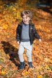 Salto entre las hojas de otoño Fotos de archivo libres de regalías
