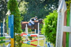 Salto equestre del cavallo di manifestazione Fotografie Stock