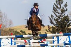 Salto equestre della ragazza del cavallo Fotografie Stock Libere da Diritti