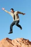 Salto extático del hombre de negocios Imagen de archivo