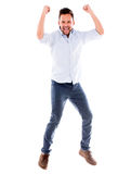 Salto felice dell'uomo Immagini Stock Libere da Diritti