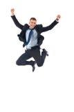 Salto felice dell'uomo d'affari Fotografia Stock Libera da Diritti