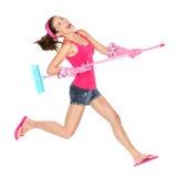 Salto felice della donna di pulizia Fotografia Stock Libera da Diritti