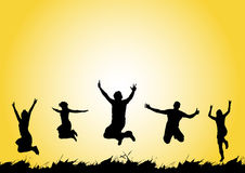 Salto felice della gente Fotografie Stock
