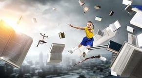 Salto felice sveglio della bambina Media misti immagine stock libera da diritti