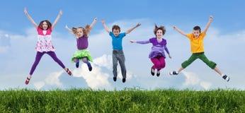 Salto feliz da mola Foto de Stock Royalty Free