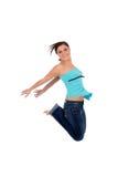 Salto feliz da mulher imagem de stock royalty free