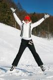 Salto feliz da mulher Imagens de Stock Royalty Free
