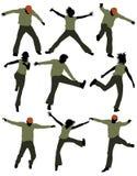 Salto feliz de la gente, jugando ilustración del vector