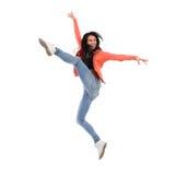 Salto feliz de la hembra Fotografía de archivo
