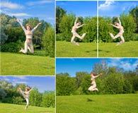 Salto feliz de la muchacha Fotos de archivo