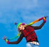 Salto feliz de la muchacha Imagen de archivo