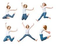 Salto feliz de la muchacha aislado en el blanco, collage, sistema Imagen de archivo