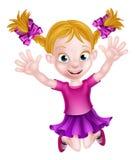 Salto feliz de la muchacha de la historieta Imágenes de archivo libres de regalías