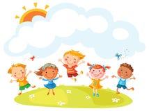 Salto feliz de los niños de la historieta stock de ilustración