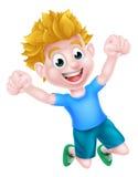 Salto feliz del muchacho de la historieta Fotografía de archivo libre de regalías