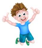 Salto feliz del muchacho de la historieta Fotos de archivo libres de regalías