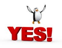 salto feliz del pingüino lindo 3d sobre palabra sí Imagenes de archivo