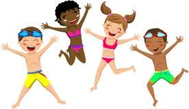 Salto feliz del traje de baño del niño de los niños aislado Imágenes de archivo libres de regalías