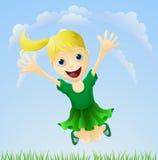 Salto feliz joven de la muchacha Foto de archivo libre de regalías