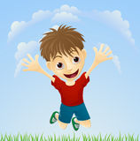Salto feliz joven del muchacho ilustración del vector