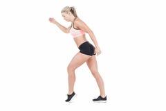 Salto femenino del atleta Fotografía de archivo