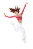 Salto femenino del bailarín feliz Fotografía de archivo