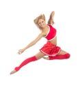 Salto femminile felice del danzatore della ragazza pon pon Fotografia Stock Libera da Diritti