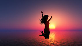 Salto femminile per la gioia Immagini Stock