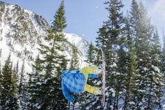 Salto freerider do Snowboarder de uma rampa da neve no sol em um fundo da floresta e das montanhas Foto de Stock Royalty Free