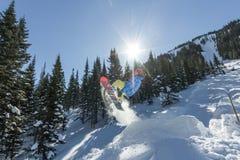 Salto freerider do Snowboarder de uma rampa da neve no sol em um fundo da floresta e das montanhas Imagens de Stock