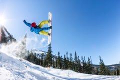 Salto freerider do Snowboarder de uma rampa da neve no sol em um fundo da floresta e das montanhas Fotografia de Stock Royalty Free