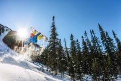 Salto freerider do Snowboarder de uma rampa da neve no sol em um fundo da floresta e das montanhas Fotografia de Stock