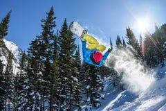 Salto freerider do Snowboarder de uma rampa da neve no sol em um fundo da floresta e das montanhas Imagem de Stock