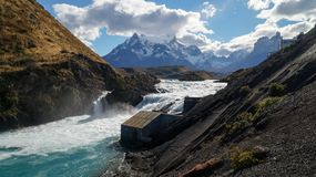 Salto Grande Waterfall in Torres del Paine, Patagonia, Chile. stock photography
