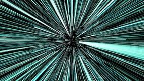 Salto híper de la animación que se mueve a través de las estrellas azules en universo