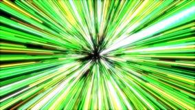 Salto híper de la animación que se mueve a través de las estrellas verdes en universo stock de ilustración
