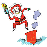 Salto hand-drawn dos desenhos animados de Papai Noel sobre a chaminé Imagem de Stock Royalty Free