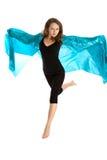 Salto hermoso joven de la mujer Foto de archivo libre de regalías