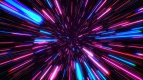 Salto Hyperspace a trav?s de las estrellas a un lazo incons?til del espacio distante Rayos de ne?n ilustración del vector