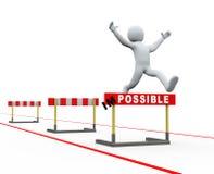 salto impossível da trilha dos obstáculos do homem 3d Foto de Stock