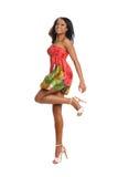 Salto joven de la mujer negra Imágenes de archivo libres de regalías