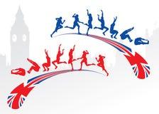 Salto longo com bandeira de Grâ Bretanha Fotos de Stock