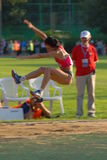 Salto lungo di Tatyana Lebedeva fotografia stock