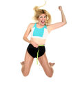 Salto para la alegría en la pérdida de peso adelante Fotos de archivo